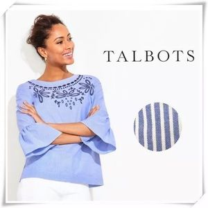 Talbots Blue and White Striped Floral Top Small.